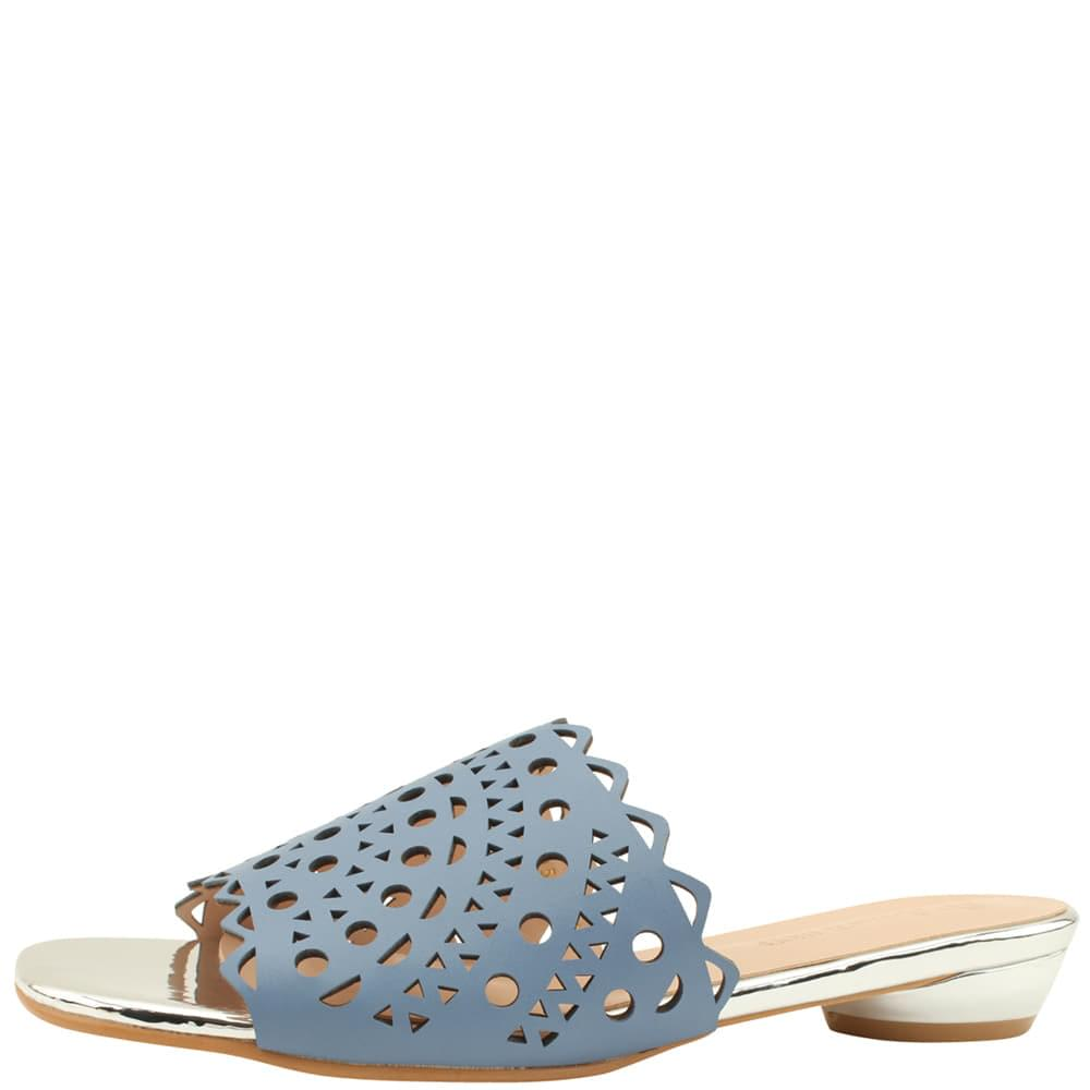 Punching Heel Low Heel Mule Slippers Blue