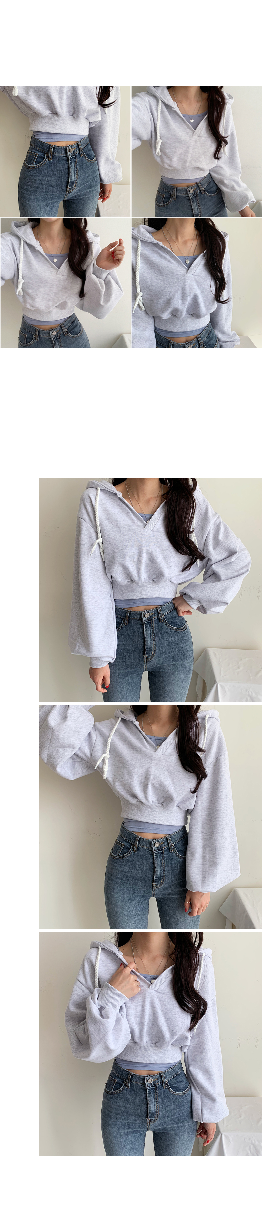 V hooded crop-to-man