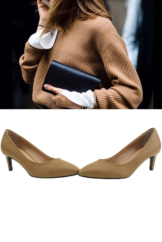 Pointed nose middle heel simple shoes beige