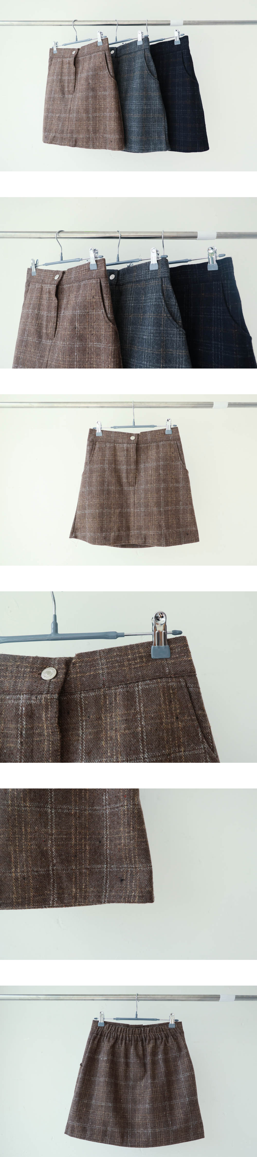 Almond Dotted Check Skirt
