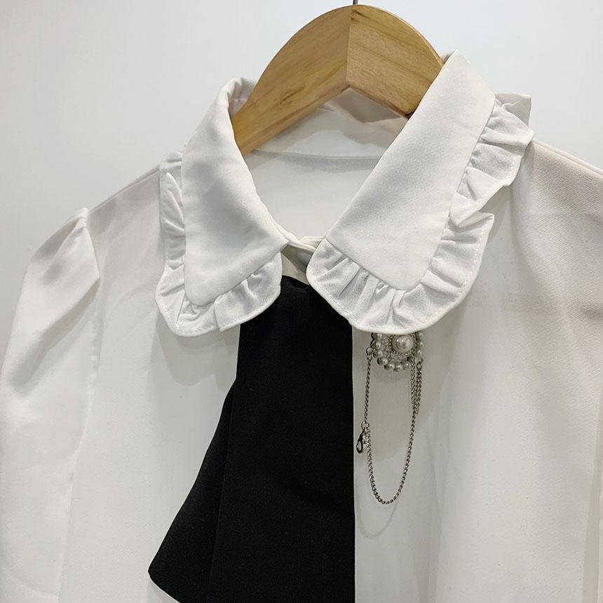 POLYU Brooch Tie Blouse