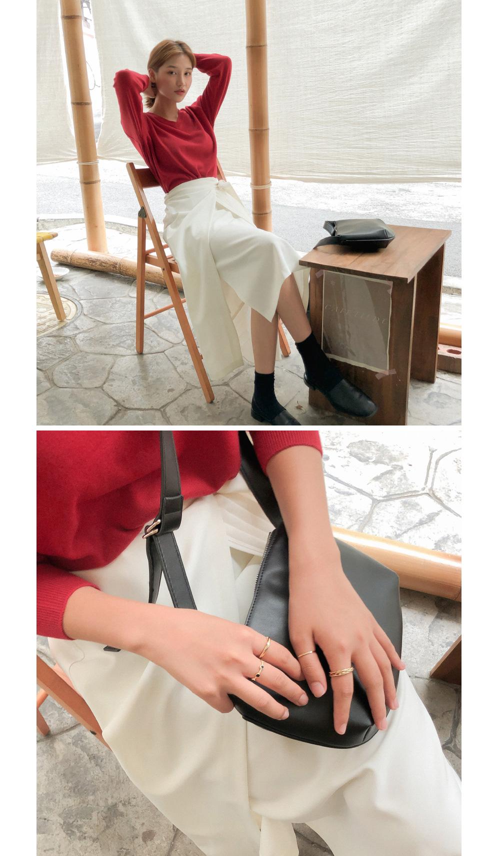 Pleated wrap long skirt
