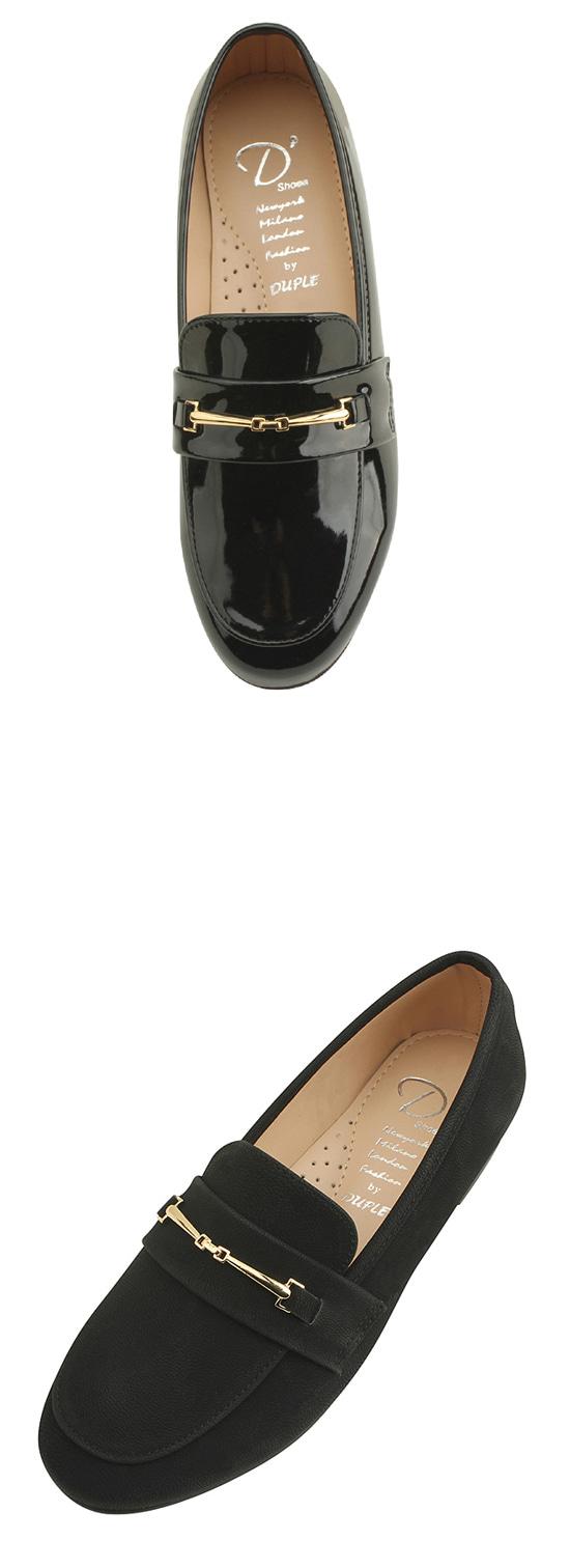 Horsebit Chain Simple Loafers Enamel Black