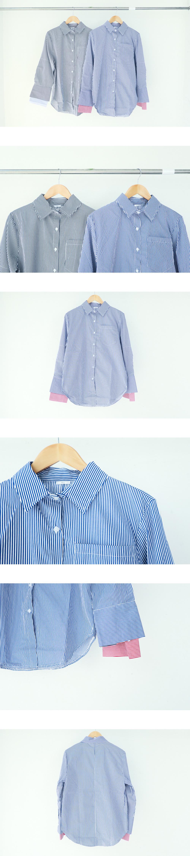 Layered Sleeve Striped Shirt