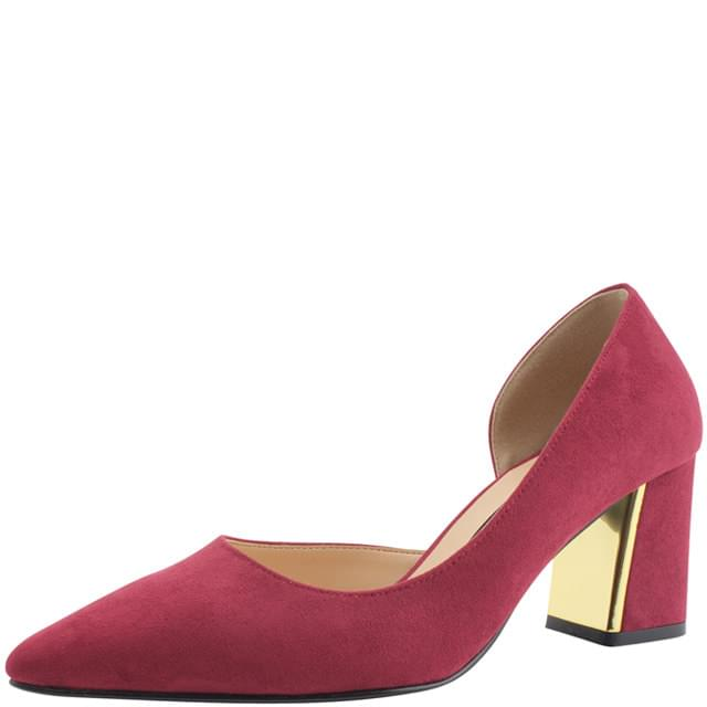 Inside Open Metal Stiletto Heel Burgundy