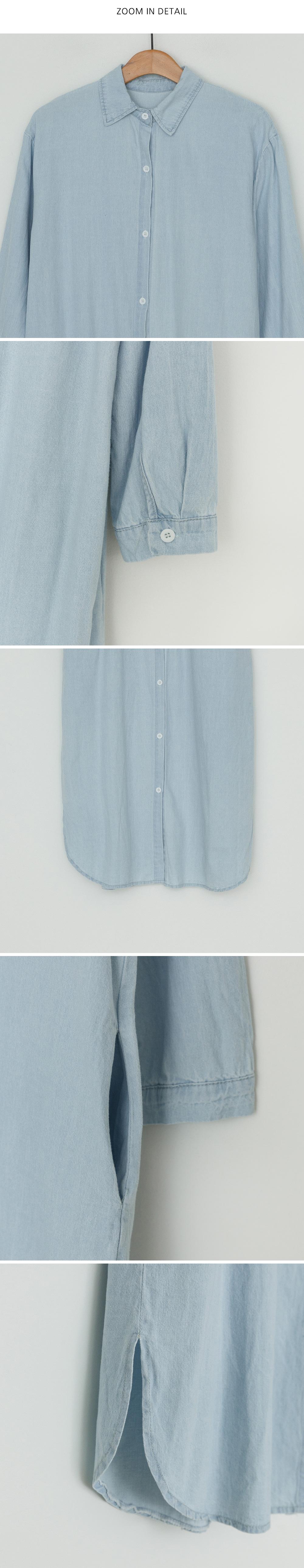 Denim Loose Fit Shirt Long One Piece