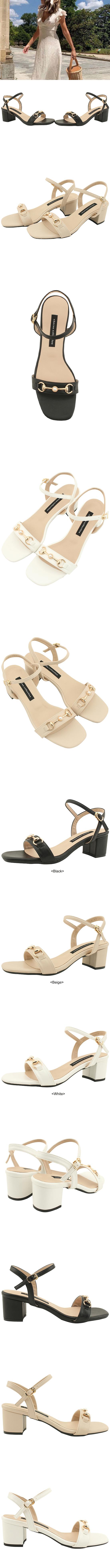 Metal Chain Strap Middle Heel Sandals Black
