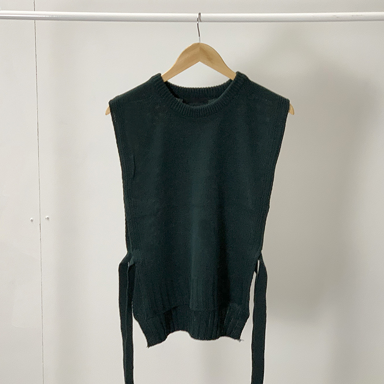Loose Ribbon Round Knit Vest