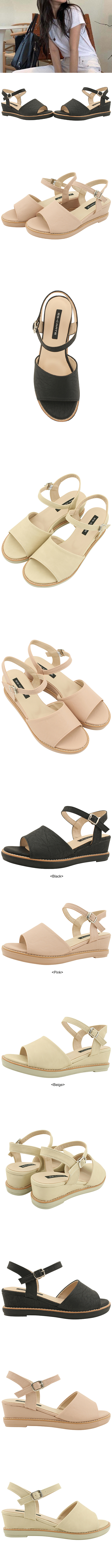 Basic Wedge Heel Mary Jane Sandals Black