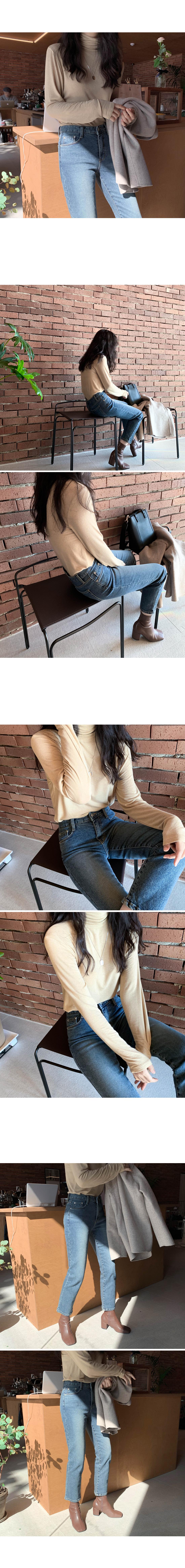 Rise Crop Denim Pants-Mid-Cheong S,M