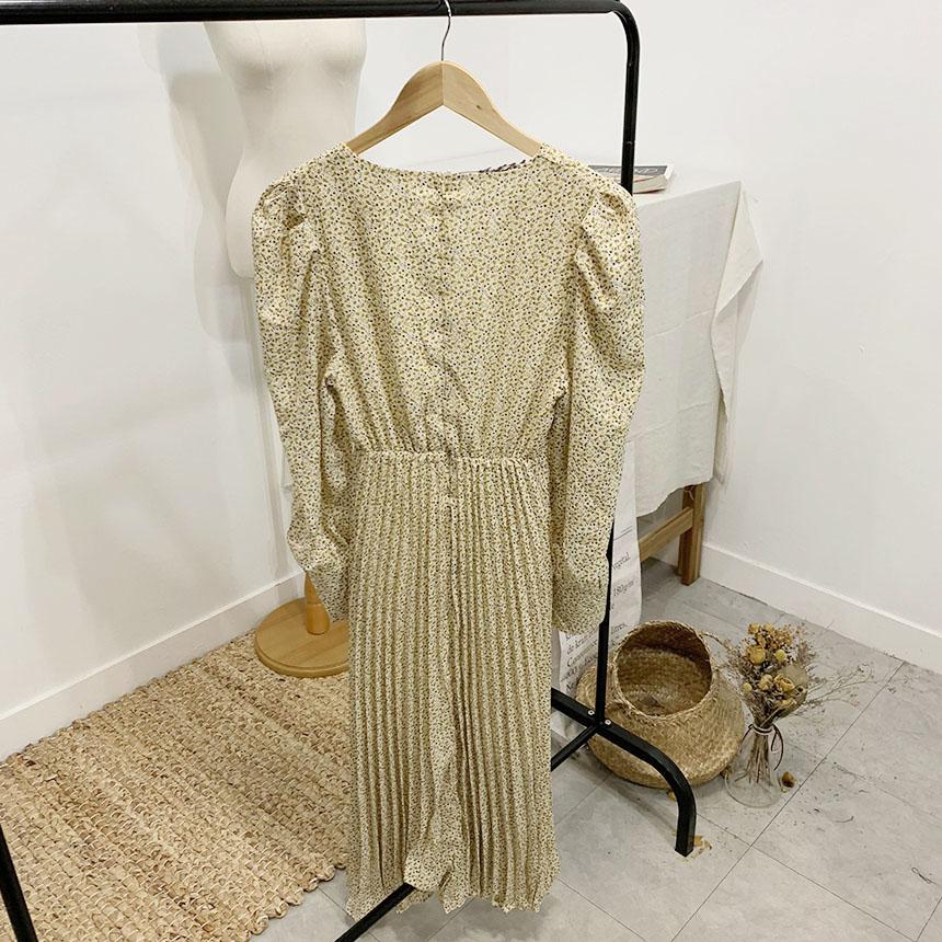 Leanne Shirring Flower Pleated Long Dress 3colors