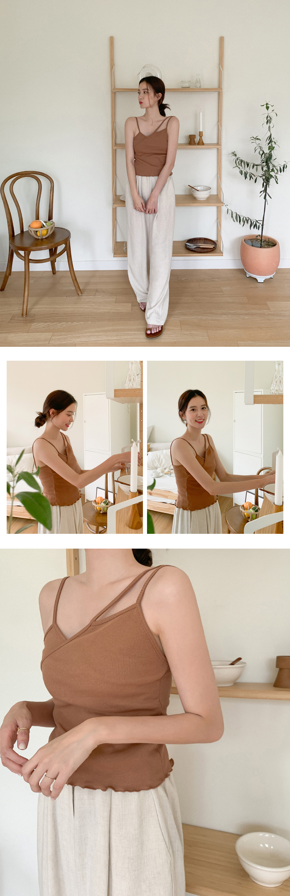 Natural twist strap slippers