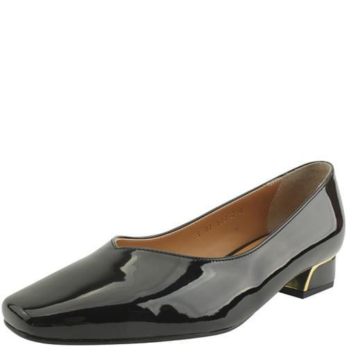 Square Toe Low Heel Enamel Shoes Black