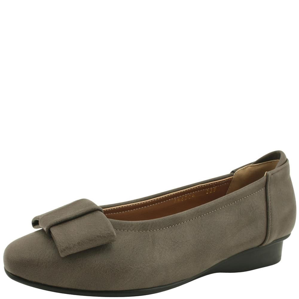 Ribbon Wedge Low Heel Comfort Loafers Gray