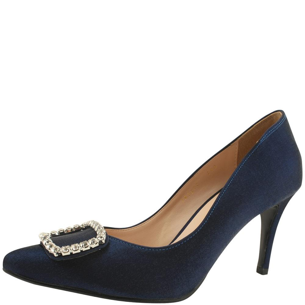Cubic Silk Stiletto High Heel Navy