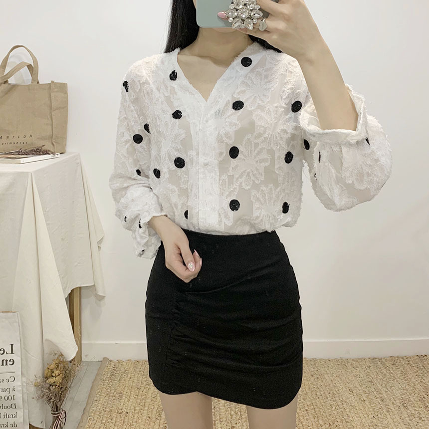 Kelly dot flower blouse