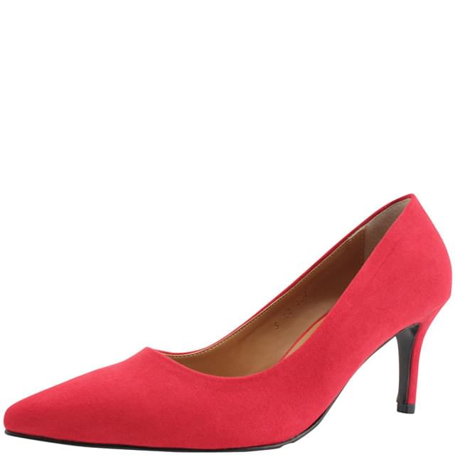 Suede Pointed Nose High Heels 7cm Red