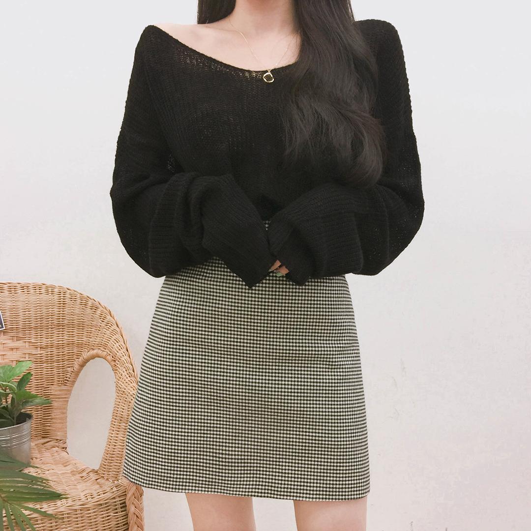 High Waist Check Mini Skirt