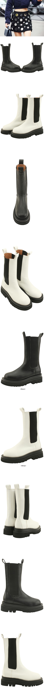 Chelsea Banding Thick Heel Middle Walker 5cm Black