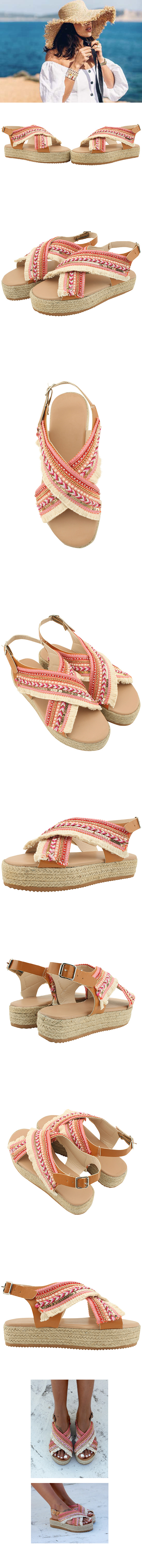 Bead strap espadue wedge heel sandals