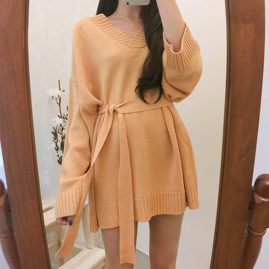 Tie-Waist Mini Knit Dress