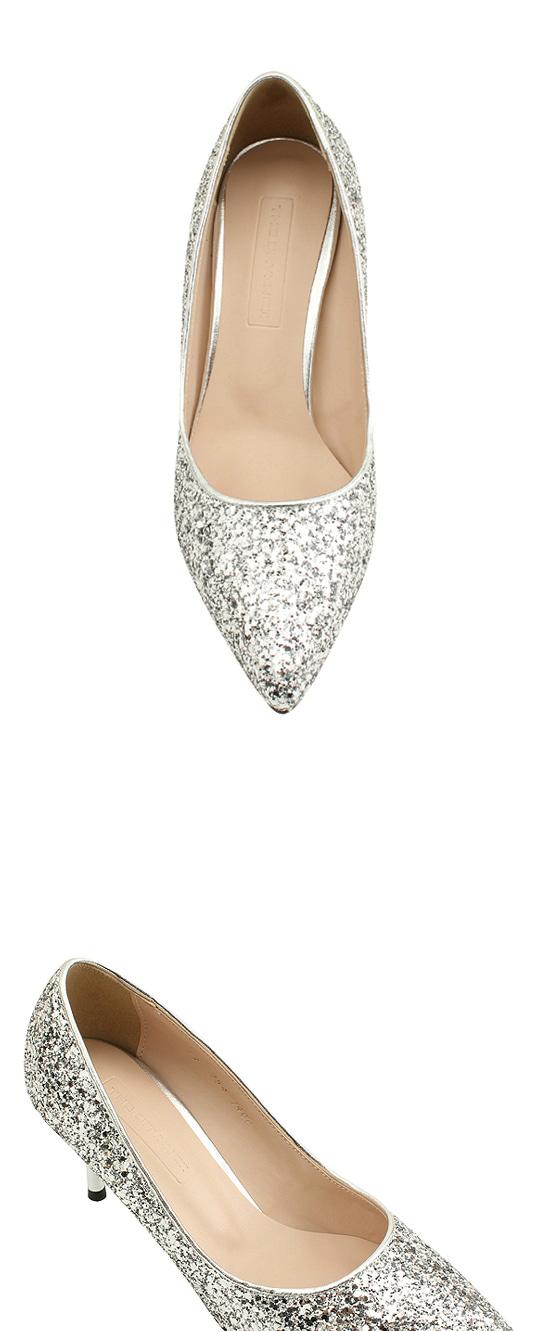 Pearl Glitter Stiletto Heel 7cm Silver