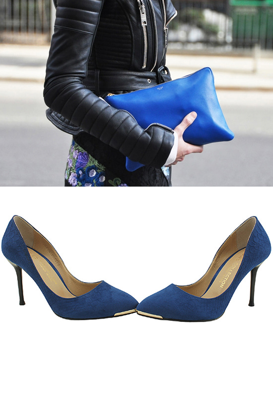 Python stiletto high heels 9cm blue