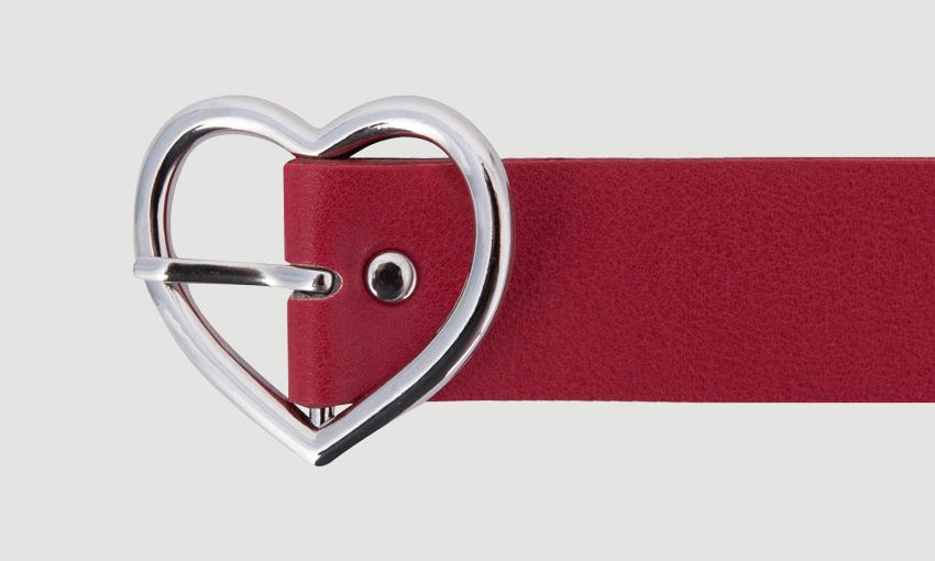 HEART CLUBHeart Buckle Faux Leather Belt