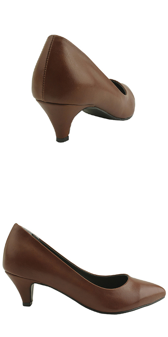 Stiletto Simple Middle Heel Brown