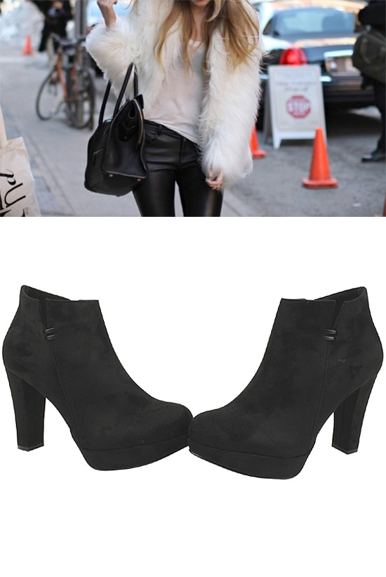 High-heeled heels suede ankle boots