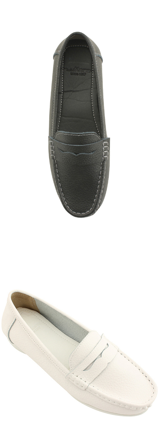 Cowhide Comfort Penny Loafers Black