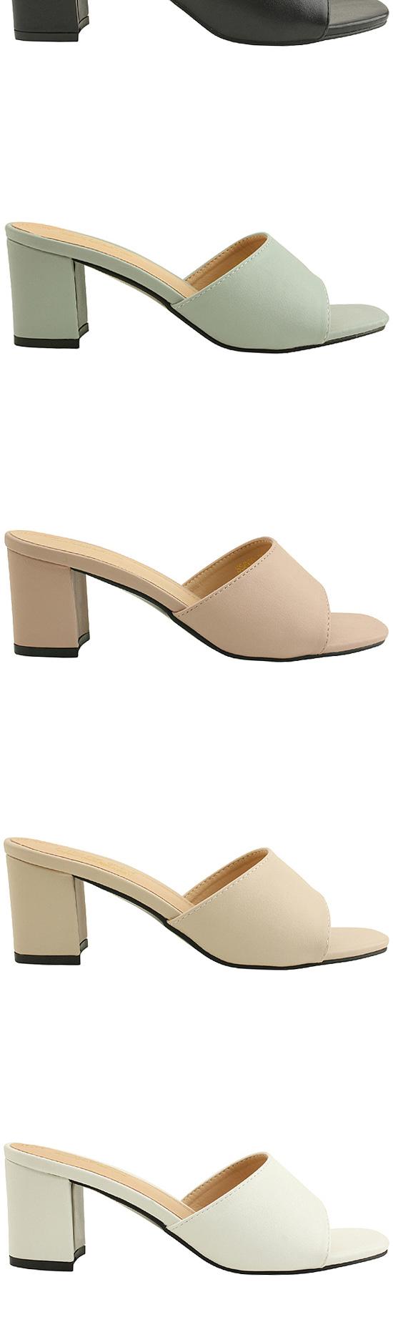 Minimal Middle Heel Mule Slippers 6cm Beige