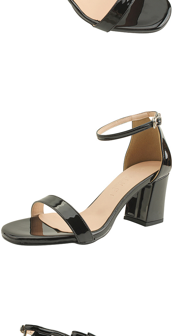 Enamel Strap High Heel Sandals 7cm Black