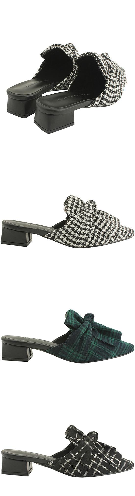Wool Check Ribbon Low Heel Blocker Black