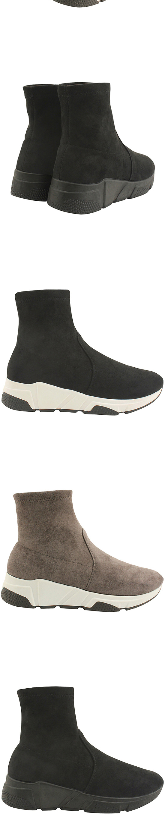 Sneakers Raised Socks Ankle Boots All Gum