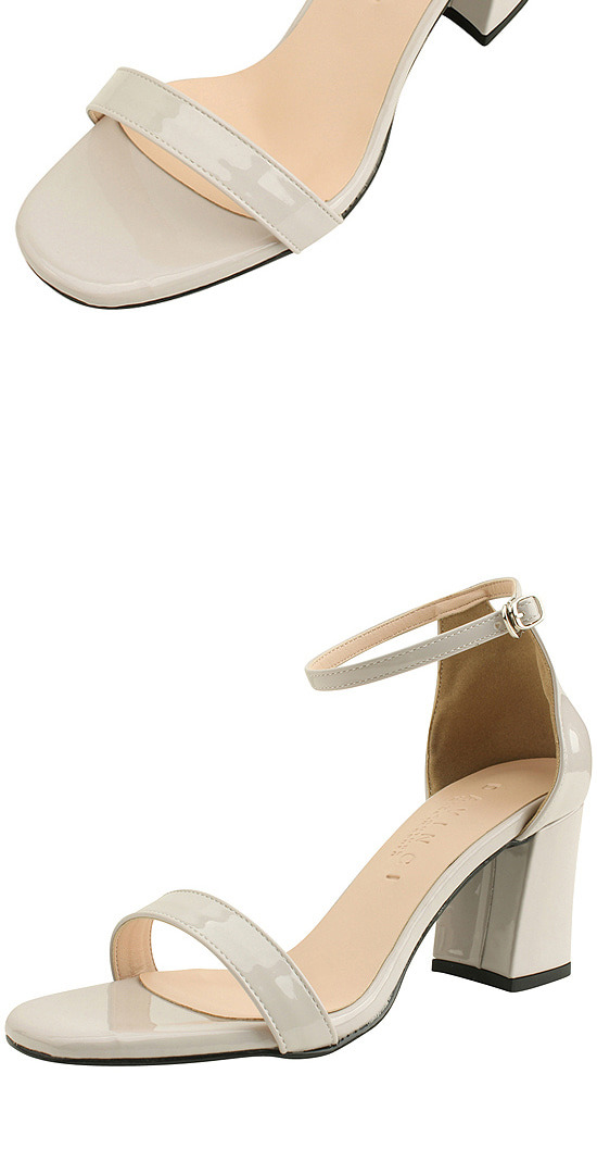 Enamel Strap High Heel Sandals 7cm Gray