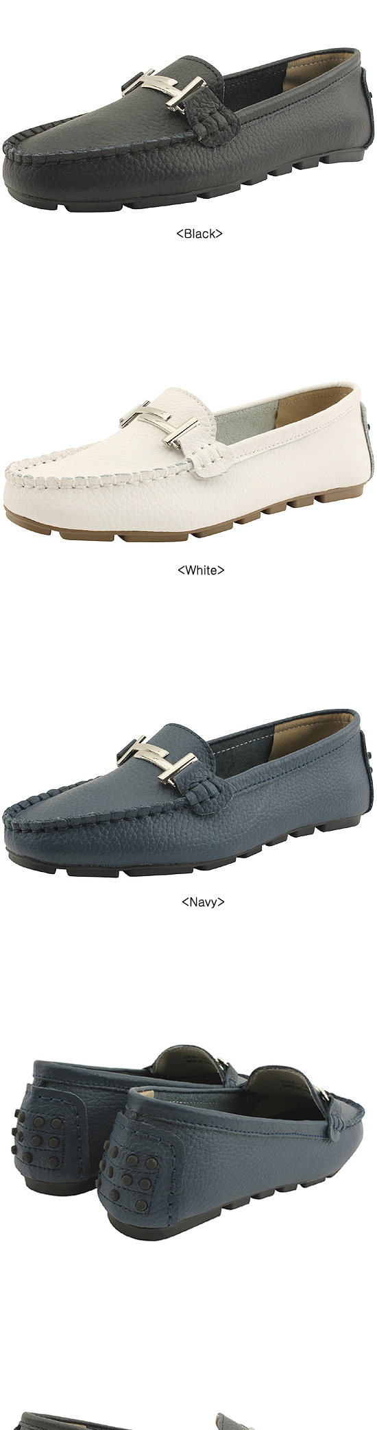 Cowhide Chain Strap Women's Loafers Navy