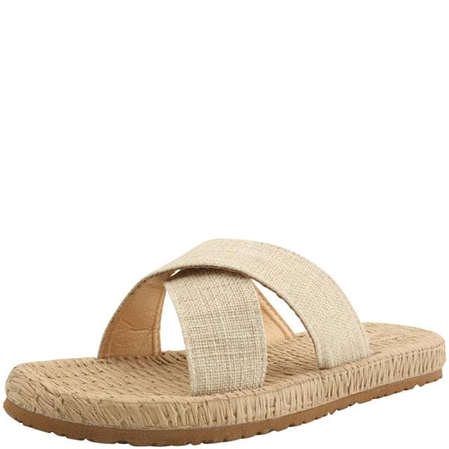 Linen Cross Strap Flat Slippers Beige
