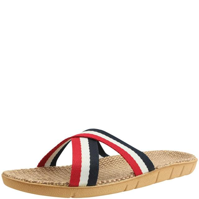 Three-wire rattan linen hemp slippers red