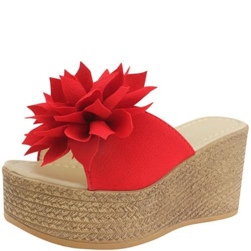 High Heel Wedge Flower Mule Slippers Red