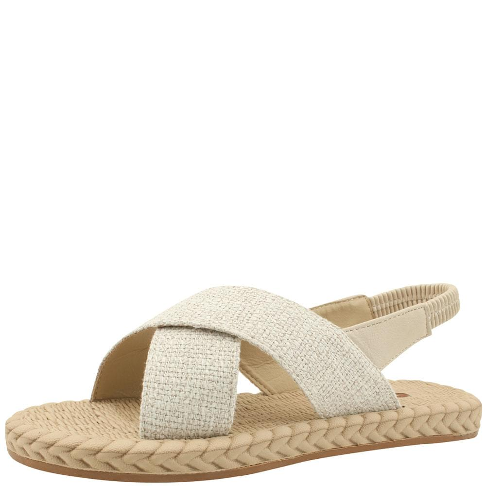 Linen Slingback Banding Flat Sandals Beige