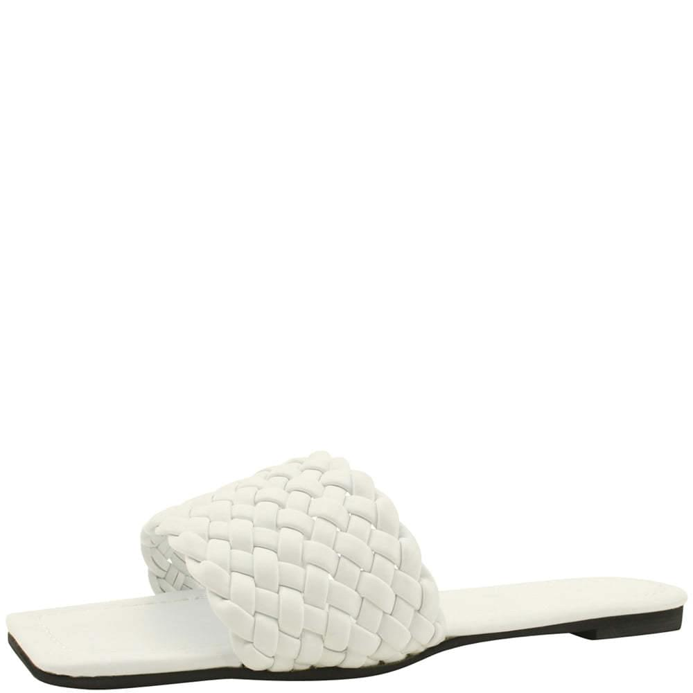 Square Toe Twisted Strap Slippers White
