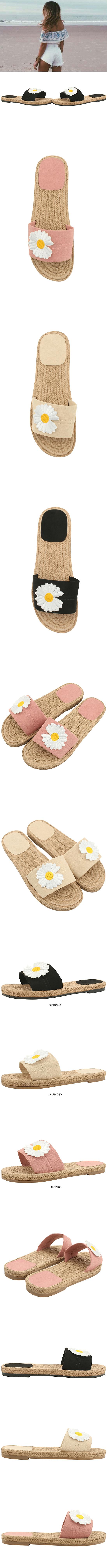 Dandelion flower embroidery soft slippers beige