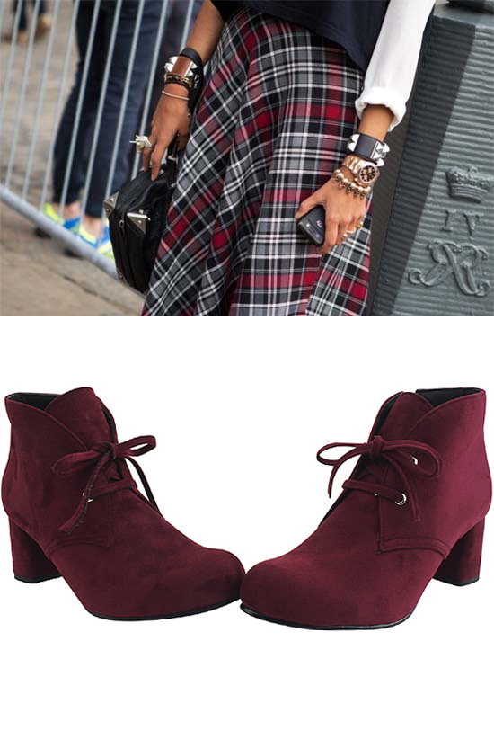 Ribbon suede ankle boots burgundy