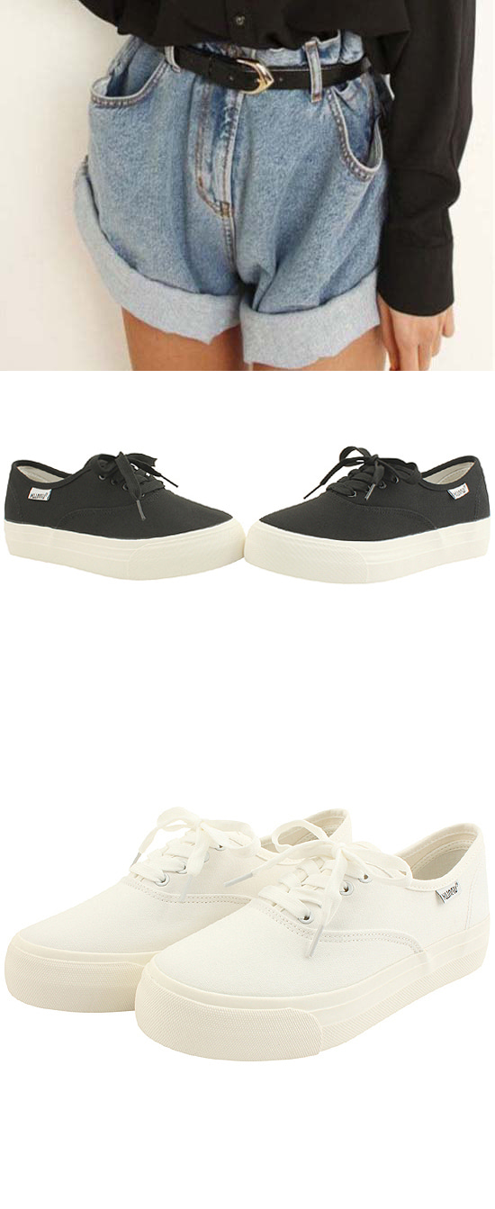 Cotton Casual Thick Heel Sneakers Black