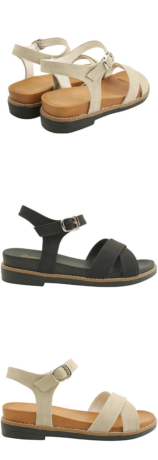 Comfort Cushion X Strap Flat Sandals Beige
