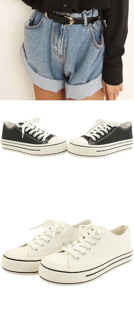 Canvas Cotton Platform Sneakers Black