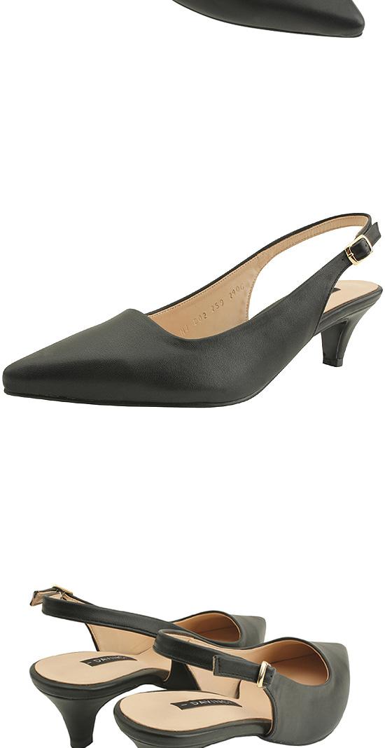 Stiletto slingback middle heel shoes black