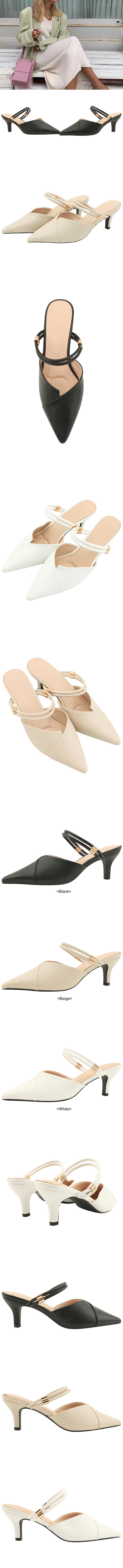 Stiletto Mary Jane Mule Middle Hill White