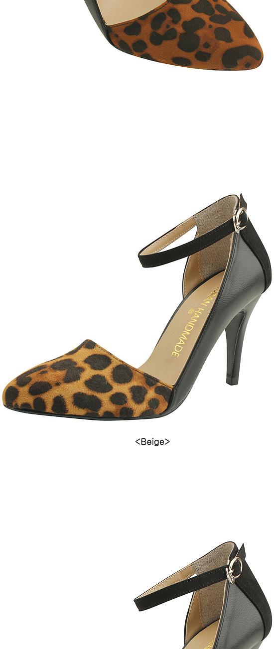 Leopard stiletto high heels brown